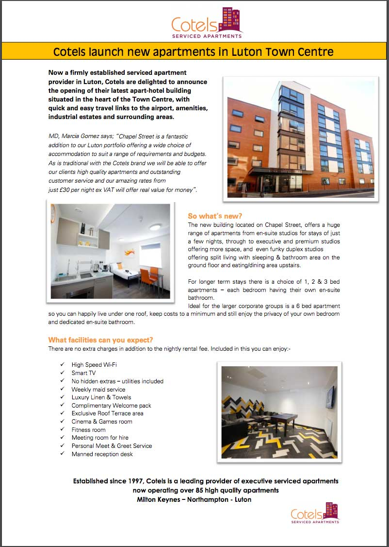 Cotels Press Release Announcing Launch of New Apartments on Chapel Street Luton
